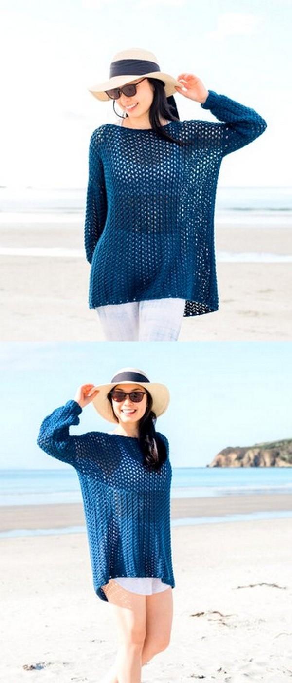 Crochet Cardigan Coat Stonewash Pocket Coatigan