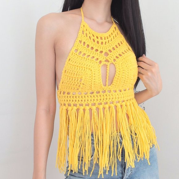 Colorful and Stylish Crochet Festival Fringe Crop Top