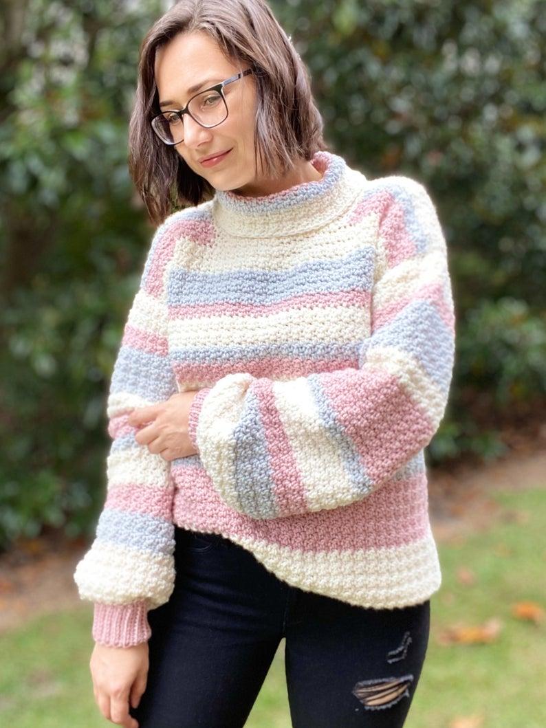 Crochet Turtleneck Sweater Pattern