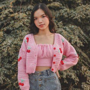 Crochet Crop Cherry Cardigan