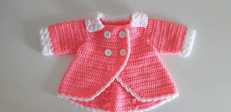 crochet double breasted baby coat