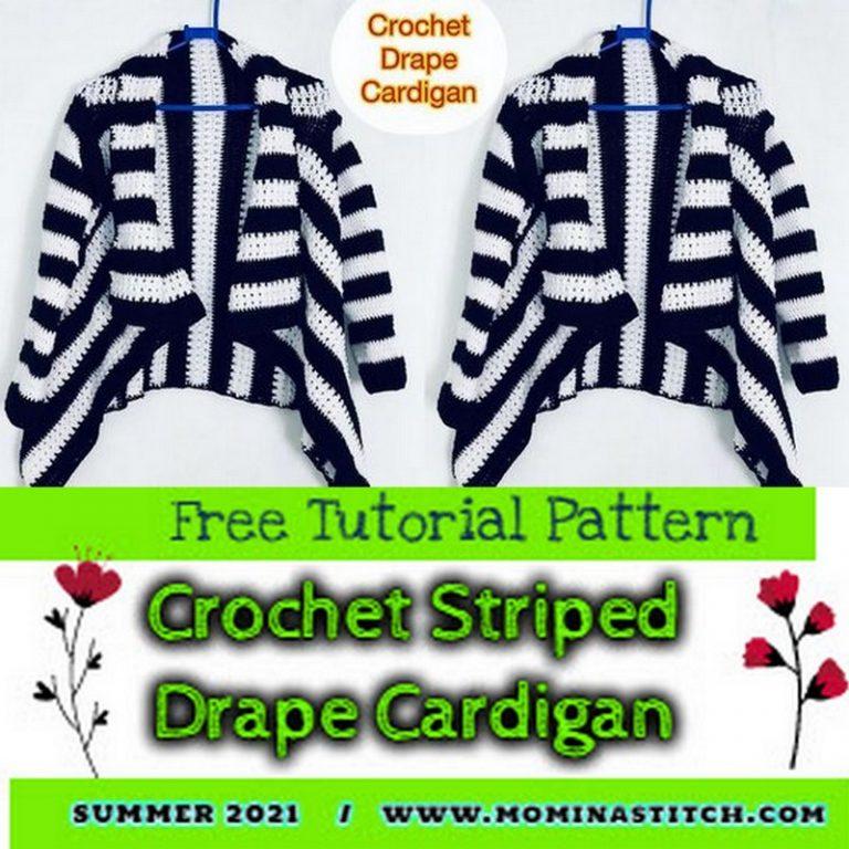 Crochet Striped Drape Cardigan
