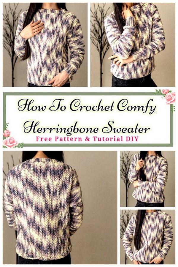 Crochet Comfy Herringbone Sweater