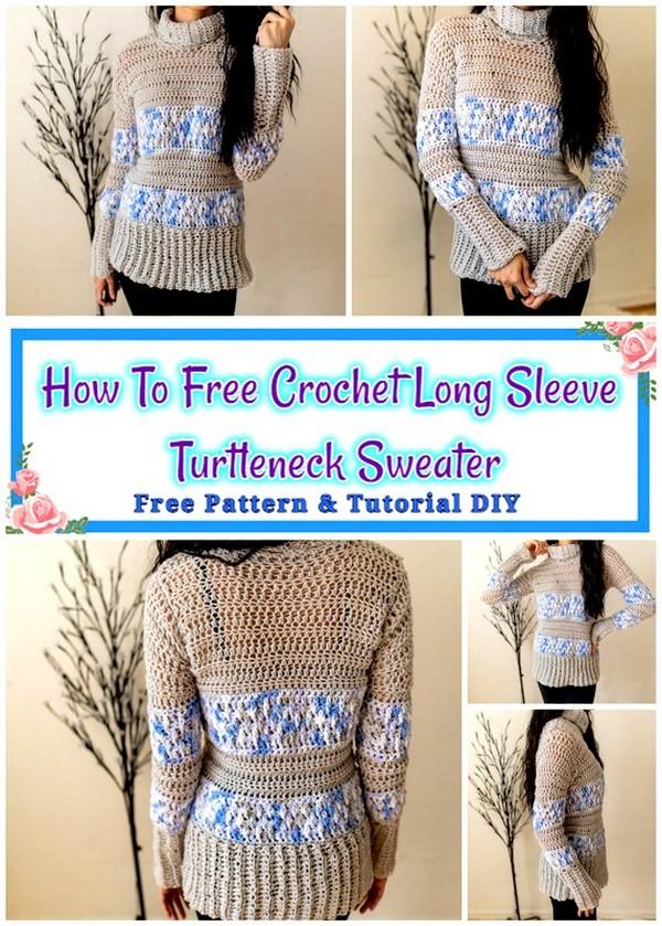Crochet Long Sleeve Turtleneck Sweater
