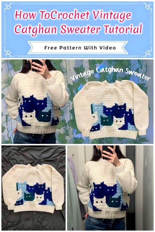 Crochet Vintage Catghan Sweater Tutorial
