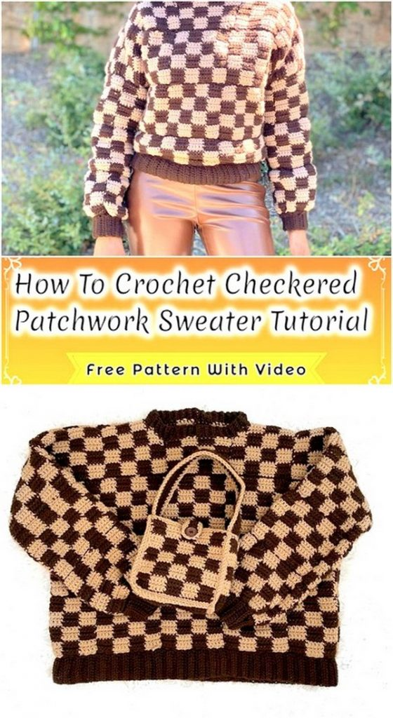 Checkered Patchwork Sweater
