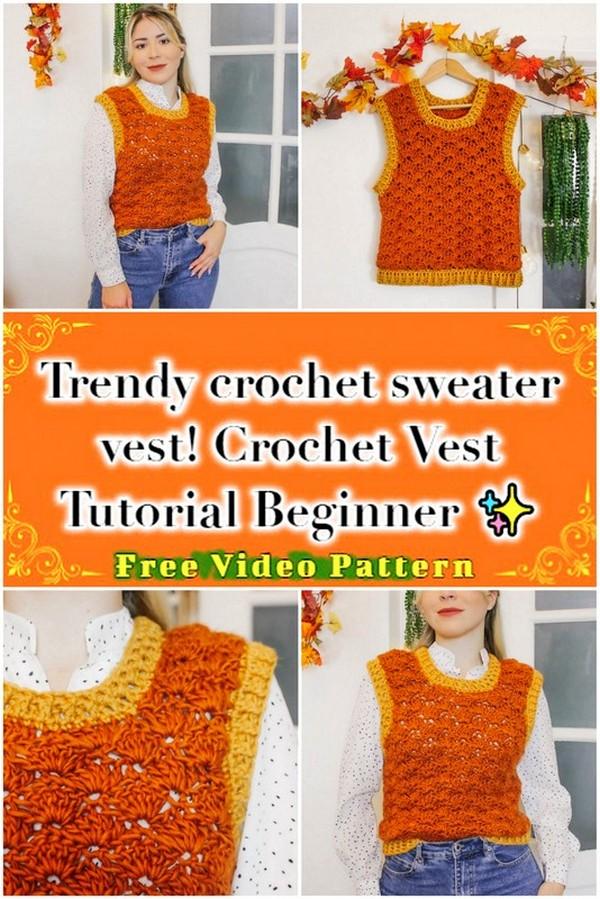 Trendy crochet sweater vest! Crochet Vest Tutorial Beginner Friendly ✨