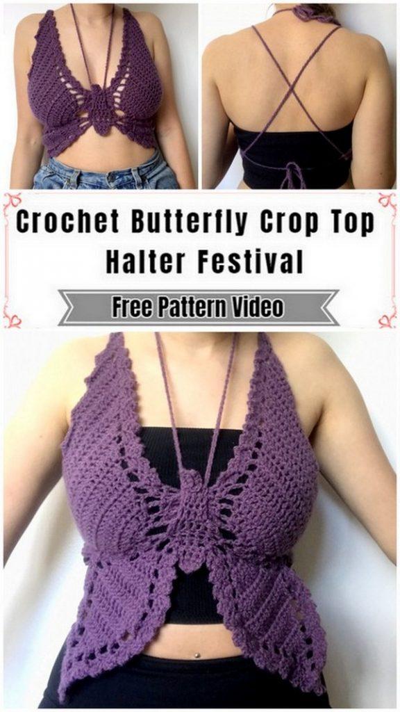 custom butterfly crochet top