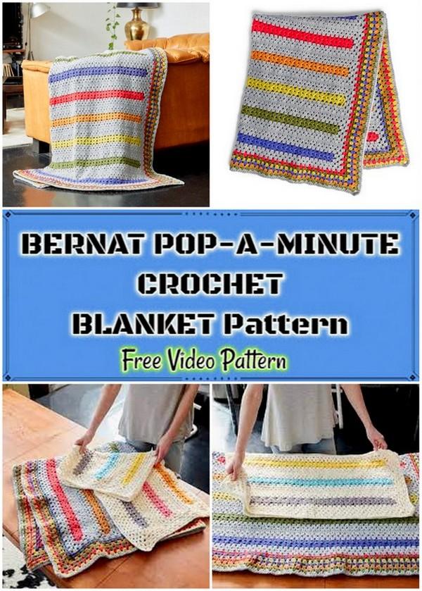 BERNAT POP-A-MINUTE CROCHET BLANKET