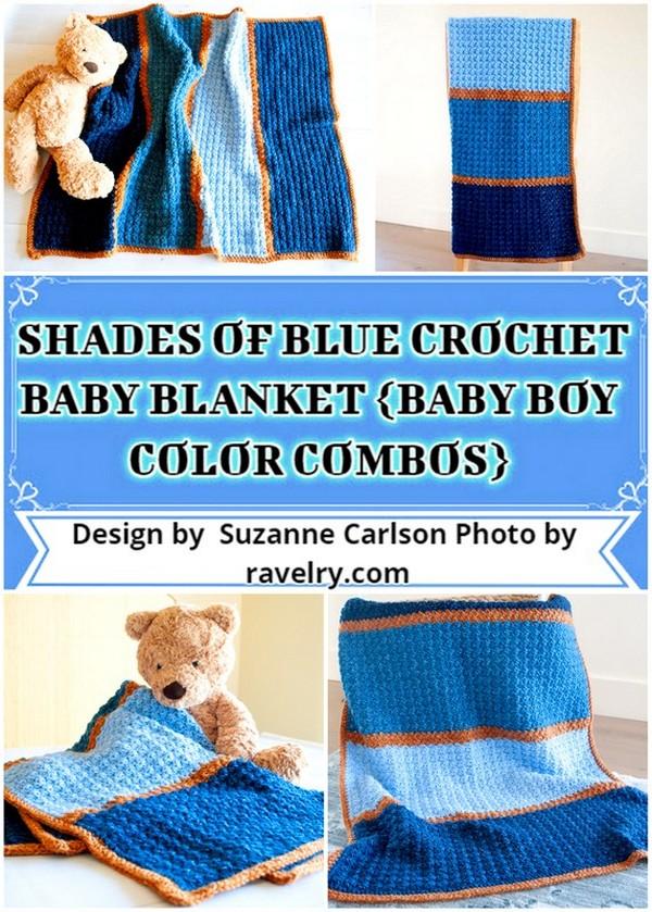 SHADES OF BLUE CROCHET BABY BLANKET