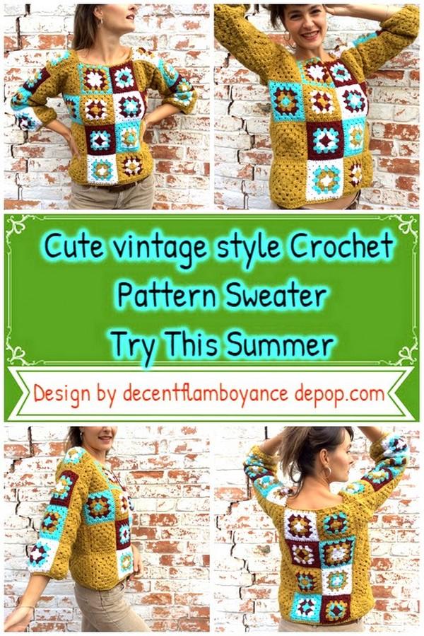 Cute vintage style Crochet Pattern Sweater