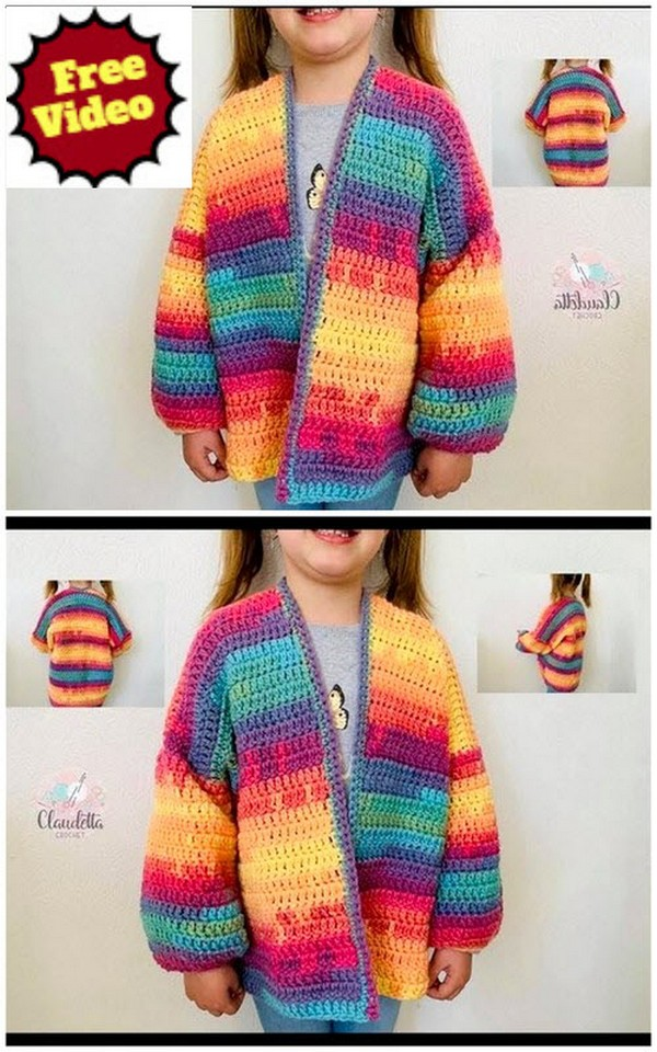 CROCHET EASY CARDIGAN for Kids and Adults