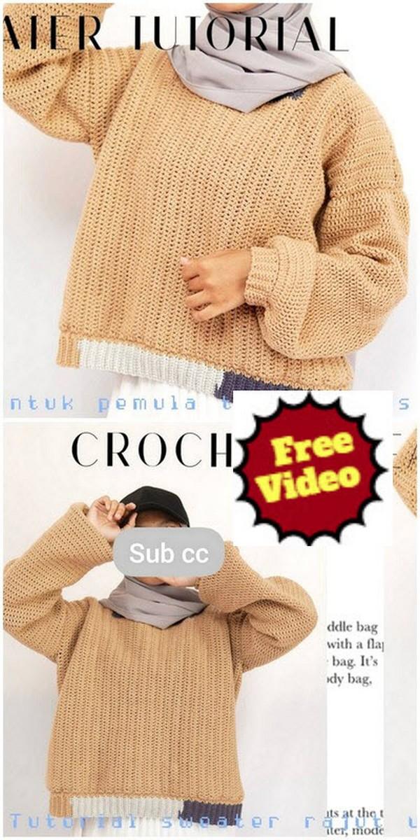Easy Crochet Sweater Tutorial For Beginner