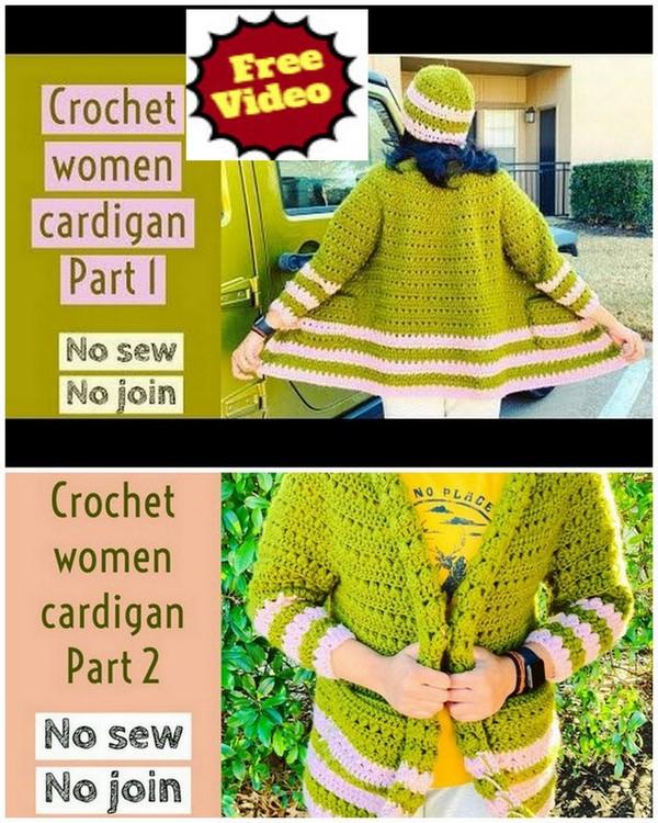 Crochet full sleeve top-down women cardigan
