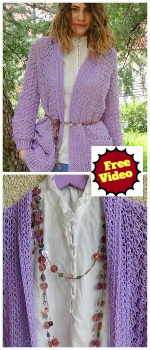 How to crochet Lavender Crochet Cardigan