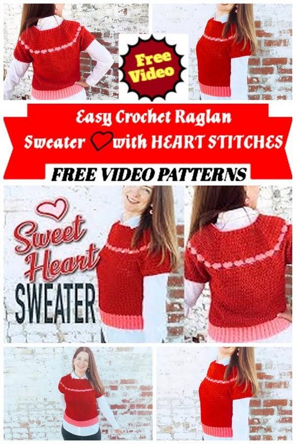 Easy Crochet Raglan Sweater❤️with HEART STITCHES