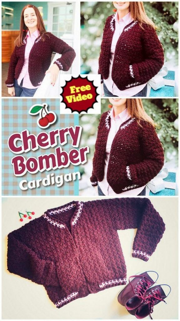 Cherry Bomber🍒Crochet Cardigan Tutorial