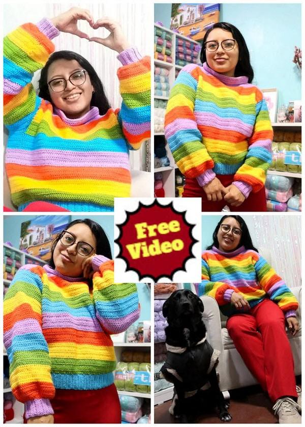 Rainbow Crochet Knit Cardigan Pattern