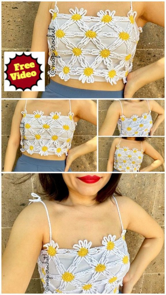 Yellow and White Contrast Top Free Crochet Pattern